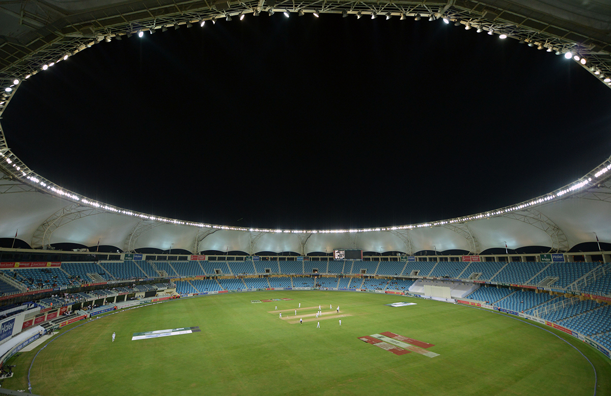 A general view shows the empty stadium on the opening day of the first day-night Test between Pakistan and the West Indies at the Dubai International Cricket Stadium in the Gulf Emirate on October 13, 2016. Pakistan captain Misbah-ul-Hq won the toss and opted to bat in the first Test -- a day-night affair with a pink ball -- against the West Indies in Dubai. / AFP / AAMIR QURESHI        (Photo credit should read AAMIR QURESHI/AFP/Getty Images)