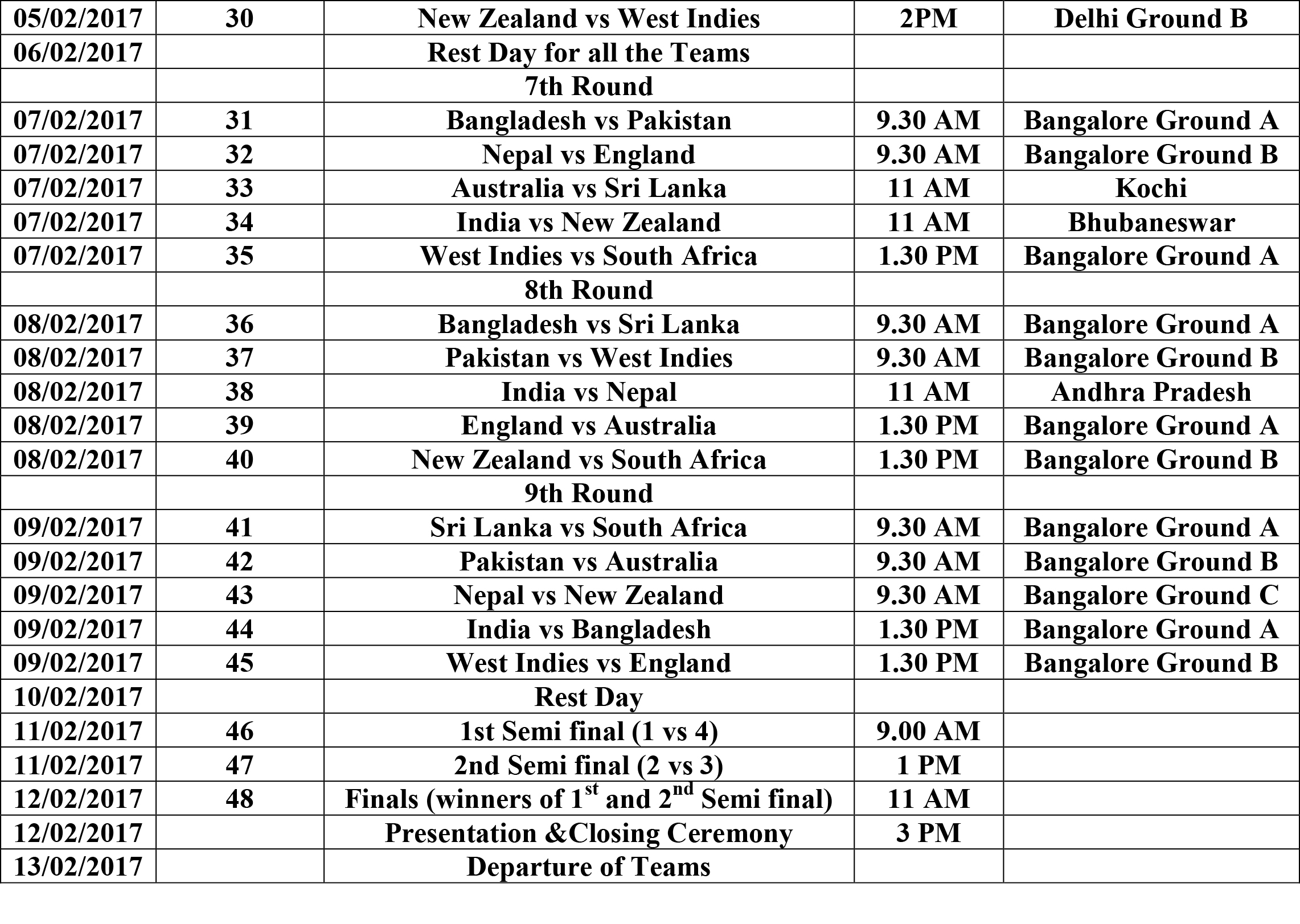 WBCC AGM and T-20 Match Schedule